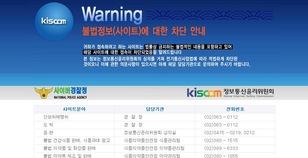 blocked websites in south korea