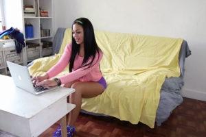 Sexy Latina on computer
