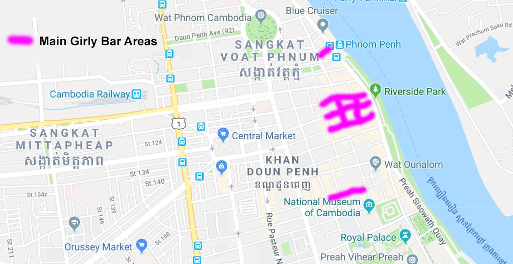 Map of girly bars in Phnom Penh