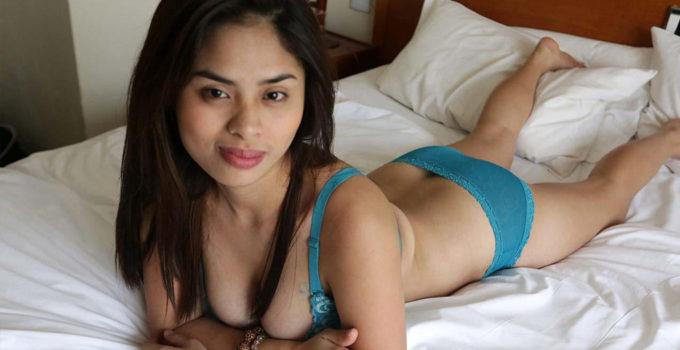Latina Asian in bra and panties